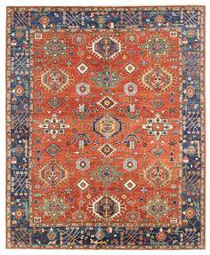 Geometric Oriental Rugs Gallery: Karaja Design Rug, Hand-knotted in Afghanistan; size: 8 feet 0 inch(es) x 10 feet 1 inch(es)