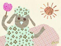 sheep collage card by: flying bathtub designs