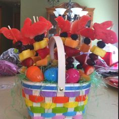 My easter fruit basket i made today easter pinterest easter easter fruit basket i used metal cookies cutters to slice through the watermelon can negle Gallery