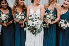 Blush white and blue bridal and bridesmaids bouquets. Anemone, thistle, garden r… – Famous Last Words Anemone Bouquet, Bridal Bouquet Blue, Blush Bouquet, Purple Wedding Flowers, Blue Bridal, Flower Bouquet Wedding, Wedding Colors, Thistle Bouquet, Vestidos