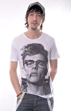 James Dean American Actor Print  Celebrity Top Mens %100 Cotton White T-shirt S M L XL Sizes Available