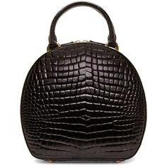 Simone Rocha Black Croc Round Duffle Bag featuring polyvore, fashion, bags, handbags, real leather handbags, accessories handbags, duffel bags, duffle and studded handbags