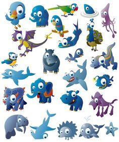 Funny cartoon blue animals vector