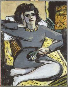 Max Beckmann, Ruhende Frau mit Nelken; Quappi auf dem Sofa bei Licht, 1940-1942  Öl auf Leinwand, 90,2 x 70,5 cm