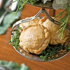 Beef and Stilton Pasties - Flaky pie dough envelopes beef, caramelized onions, garlic, and Stilton cheese - from November/December 2008 TeaTime Magazine