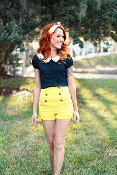 high waist shorts with peter pan collar top