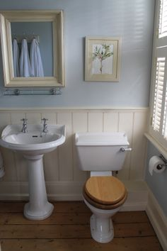 Tongue and groove panelling in ensuite bathroom. Walls in Farrow and Ball Borrowed Light. Cloakroom Toilet Downstairs Loo, Ensuite Bathrooms, Bathroom Toilets, Small Bathroom, Chic Bathrooms, New Bathroom Ideas, Bathroom Inspiration, Bathroom Layout, Bath Ideas