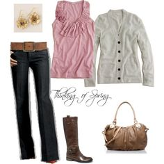Love the ruffles on the top, cardigan, and bag!