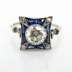 Art Deco 0.93ct Old European Cut Diamond & 0.60ct Sapphire Platinum Ring - 7.5 | eBay