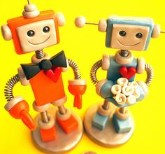 Robot Wedding Cake Topper in Orange and Blue   Flickr - Photo Sharing!