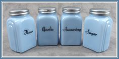 DELPHITE BLUE GLASS 4 PC ARCH SPICE JAR SHAKER SET Flour Garlic