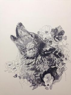 "Original drawing ""Floral Wolf"" by Alexandra Loesser"