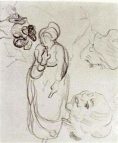 Study of a Woman Standing, Two Heads, Another Figure - Vincent van Gogh