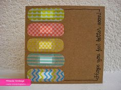 get well washi tape - Bing images Washi Tape Cards, Washi Tape Diy, Masking Tape, Easy Paper Crafts, Tape Crafts, Cute Cards, Diy Cards, Tarjetas Diy, Get Well Cards