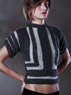 Knit grey geometric