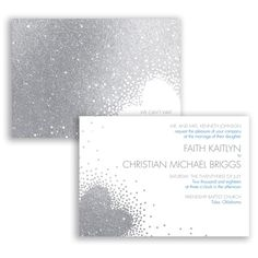 Grey glitter wedding invitation from @davidsinvites