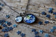 Earth and Moon Galaxy Space Necklace Antique by jerseymaids