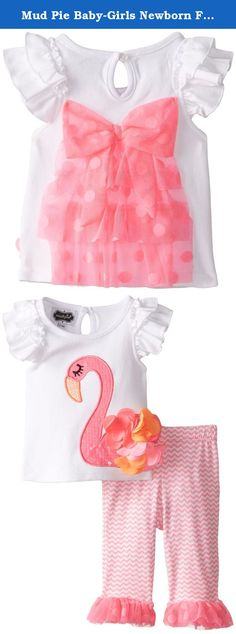 Mud Pie Baby-Girls Newborn Flamingo Tunic and Capri Set, Pink, 0-6 Months. 2-piece set. Cotton top has sequin flamingo applique with flower ruffles and tiered ruffle sleeves. Comes with neon printed cotton-spandex capri leggings with mesh ruffle at hem.
