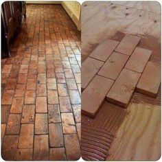 Sweet and Spicy Bacon Wrapped Chicken Tenders faux brick floor with wood blocks! Wooden blocks for fake brick flooring awesome diy idea Wood Block Flooring, Diy Wood Floors, Diy Flooring, Kitchen Flooring, Wood Blocks, Hardwood Floors, Flooring Types, 2x4 Wood Projects, Armstrong Flooring