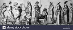 Life in ancient Greece, from left: childhood, gymnastic exercises, studies, teacher, hospitality, marriage