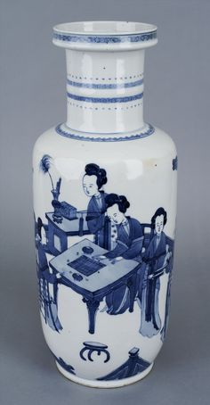 Blue and white rouleau vase with women at the table by Anonymous from China, Kangxi period, 1662-1722, Muzeum Sztuki w Łodzi (MSL)