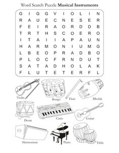 Word Search Puzzle Musical Instruments | Download Free Word Search Puzzle Musical Instruments for kids | Best Coloring Pages