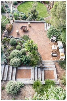 Backyard For Kids, Backyard Patio, Backyard Landscaping, Landscaping Ideas, Hillside Garden, Gravel Garden, Australian Garden Design, Garden Cabins, Fire Pit Area