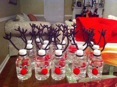I decorated these Reindeer Bottle Waters for my daughters' Kindergarten Holiday Party this week. Super cute & easy.