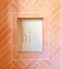 Glazed Brick, Victorian Tiles, Pink Tiles, Encaustic Tile, Tile Projects, Concrete Tiles, Shower Floor, Shower Niche, Handmade Tiles