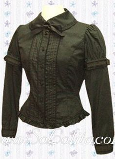 Lolita Bowtie Long Sleeves Pleated Cotton Blouse