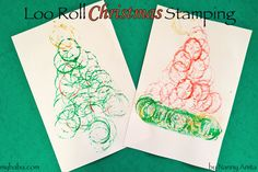 Make pretty christmas pictures using a paper loo roll to stamp with.