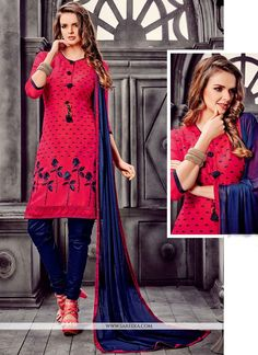 Appear ethnic in this hot pink and navy blue cotton   churidar designer suit. The enticing embroidered work a significant feature of this dress. Comes with matching bottom and dupatta. (Slight variati...