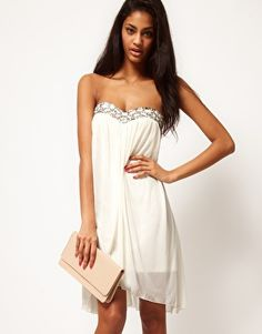ASOS Strapless Mesh Dress With Embellished Bust