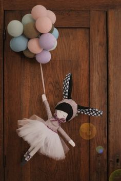 Doll with rabbit ears by Pani Pieska hanging plushie toy design .time to dress like a bunny and take your balloon for a walk cute kawaii doll Doll Crafts, Diy Doll, Doll Toys, Baby Dolls, Baby Mobile, Fabric Toys, Sewing Dolls, Soft Dolls, Cute Dolls
