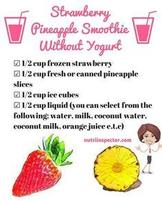 Pineapple Smoothie Recipes, Apple Smoothies, Easy Smoothies, Smoothie Drinks, Strawberry Banana Smoothie Recipe Without Yogurt, Yogurt Free Smoothies, Protein Smoothie Recipes, Green Smoothies, Healthy Yogurt