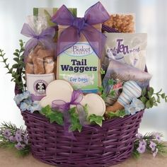 A reusable handled wicker gift basket holds treats for both the dog and his owner. We know dog lovers would share their last meal with their faithful companion so we include treats for both. Gourmet dog biscuits beautifully hand cut and decorated along with delicious sweets just for the owner. This gift would be most suitable for get well, birthday gift, appreciation for vet services and so much more. If they have a dog they would love to receive this beautiful gift basket.