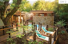 Like everything at Calistoga Ranch, the spa is built seamlessly into its forested surroundings. Guests wandering between the treatment rooms and outdoor decks— complete with soaking tubs, rain showers, a warm-water Watsu pool, and eucalyptus steam room—can take in views of the nearby creek and towering oaks. The property also incorporates local organic ingredients like lavender and cucumber within their healing and restorative treatments.Don't leave without: The spa's famously addictive ...