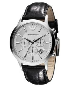 Emporio Armani Watch, Men's Chronograph Black Leather Strap AR2432