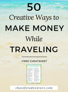 Looking for ways to make money while traveling because you want to travel full-time? Let 2 full-time travelers teach you their secrets. This post is filled with 50 creative ideas to earn money whil… Work From Home Jobs, Make Money From Home, Way To Make Money, Make Money Online, Travel Money, Travel Tips, Budget Travel, Travel Fund, Free Travel