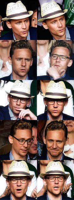 Tom Hiddleston at Wimbledon. I love his facial expressions! :D