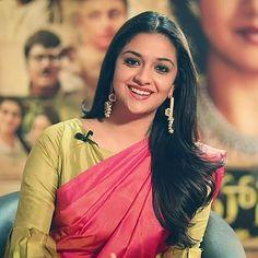 Keerthy Suresh Hot, Kirthi Suresh, Blue Glass Vase, Power Star, Mahi Mahi, Roses, Sari, Celebs, Actresses