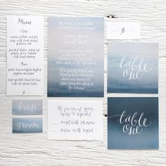 Watercolour invitations / All raw deckled edges and hand penned calligraphy… By Cass Dellar Designs