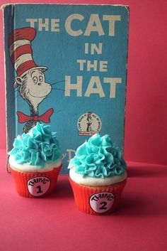 My Thing 1 Thing 2 Cupcakes have been spotted on here, Cool! Dr Seuss Cupcakes, Cute Cupcakes, Birthday Cupcakes, Dr Seuss Cake, Ladybug Cupcakes, Kitty Cupcakes, Snowman Cupcakes, Giant Cupcakes, Dr Seuss Birthday Party