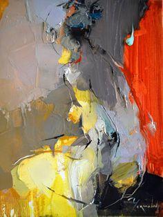 """Red Drape"" - Iryna Yermolova, oil on canvas, 2015 {figurative #expressionist art nude female seated woman posterior back grunge smudged painting drips NSFW #loveart} irynayermolova.com"