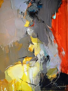 """Red Drape"" - Iryna Yermolova, oil on canvas, 2015 {figurative #expressionist art nude female seated woman posterior back grunge smudged painting drips NSFW #loveart} irynayermolova.com"