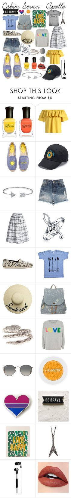"""""""Cabin Seven, Apollo- PJO Characters 7/?"""" by nle10 ❤ liked on Polyvore featuring Deborah Lippmann, Chicwish, Soludos, Love This Life, Bling Jewelry, River Island, TOMS, American Apparel, Savvy Cie and Chinti and Parker"""