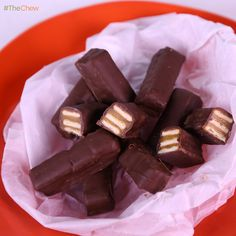Chocolate Caramel Crunch Bars (homemade TWIX) by Michael Symon!  #SweetAndSalty #Dessert