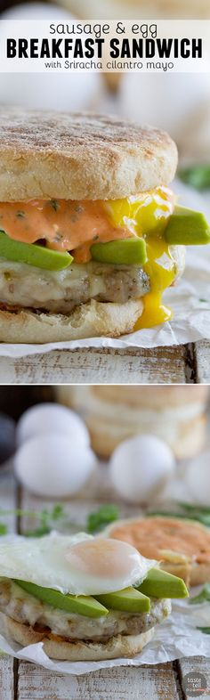Perfect for breakfast, lunch or dinner, this Sausage and Egg Breakfast Sandwich Recipe has a homemade sausage patty and a perfectly cooked egg, and then is topped with an easy Sriracha Cilantro Mayonnaise.