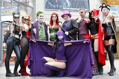 An impressive array of superheroes at NYCC: Catwoman, Harley Quinn, Joker, Poison Ivy, Penguin, Two-Face, Red Raven, Storm, and Raven