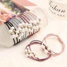 Women Elastic Hair Bands Pearl Girls Sweet Hairband Ponytail Holder Band Rope Children Red Fashion 2018 New Hot Sale Hair Ring Accessories Hair Accessories